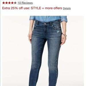 NWT Studded Frayed-Hem Skinny Jeans